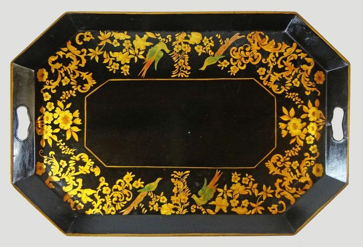 Large 26  Octagonal Tole Handled Antique Tray Birds Black Gilt - 19th Century, USA