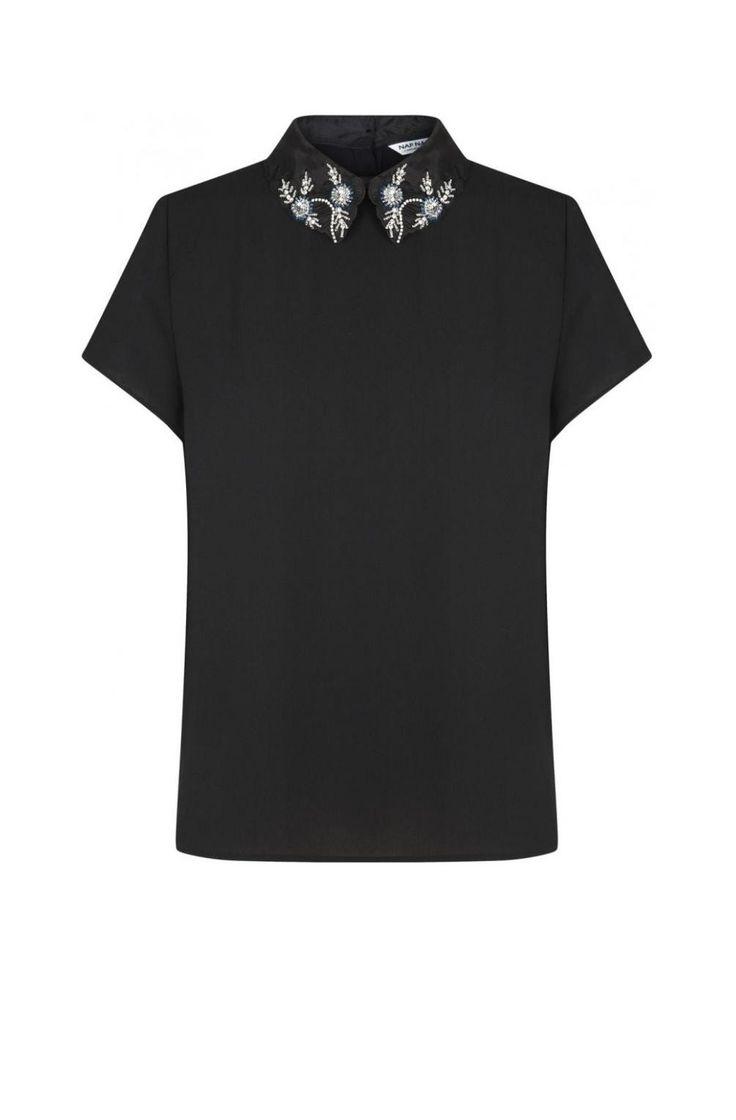 Top col bijou manches courtes noir - tee-shirts femme - naf naf