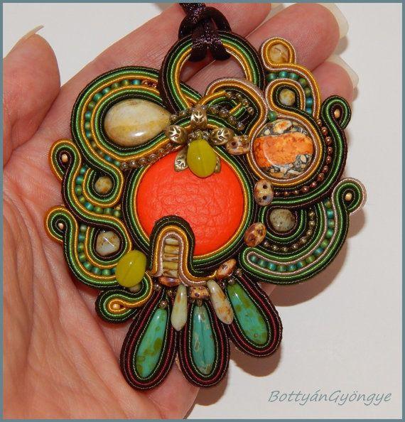 Autumn forest  asymmetric soutache pendant by BottyanGyongye