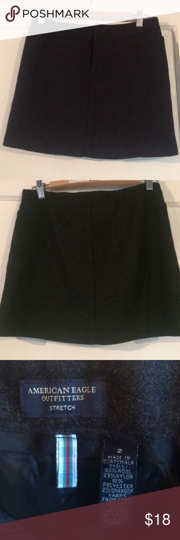 """Charcoal wool mini skirt American Eagle Outfitters NWOT never worn. 14"""" long. Style basic for winter! American Eagle Outfitters Skirts Mini"""
