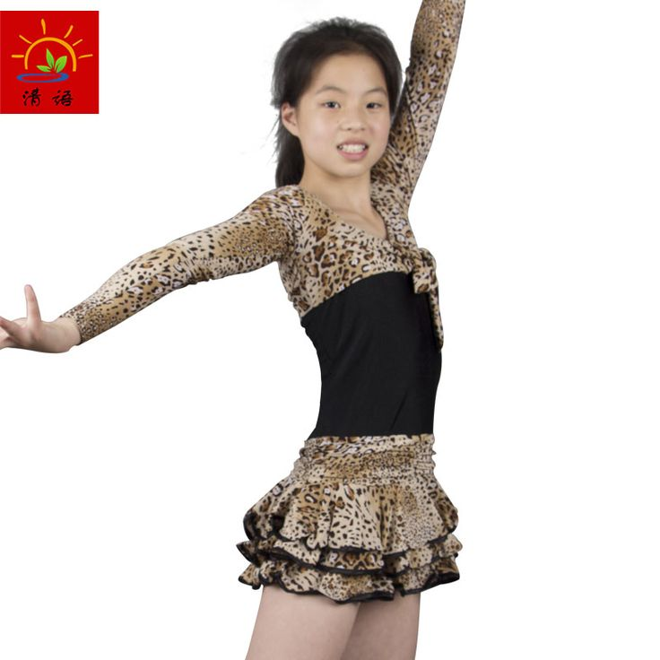 SSJZ16 Spring summer 2016 new children's Latin dance costumes female Latin dress dancing competition costume  leopard-print suit