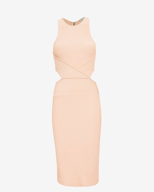 Ronny Kobo Megan Cut Out Rib Dress: Sleek and chic with a little bit of hide and go seek... Sleeveless. Cut out detailing at sides of waistline lead into an open back. Double zipper closure at back. Vented at rear hem. In blush.   Fabric: 74% rayon/24% nylon/2% spandex   Length from ...