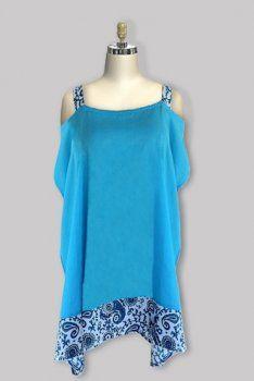 Open Shoulder Caftan Collection-Sky Womens Plus Size Clothing | Big Size Tunics 1x-4x [GF2326CTBU] - $29.00 : Plus Size Clothing Fashions for Women | Generousfashions.com
