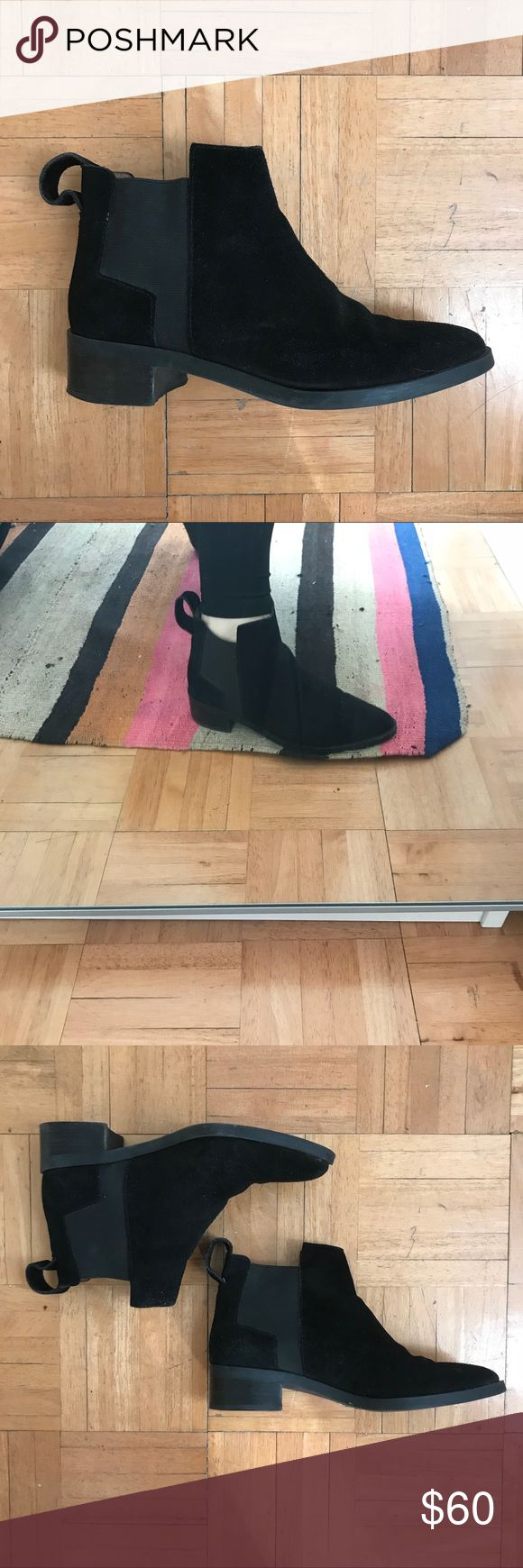 &other stories Black suede Chelsea boots US size 7 Only worn a few times, very comfortable, chic and easy to wear Chelsea boot in beautiful black suede.   Currently on &other stories website for $155!   Leather tab to easily pull up Cushioned leather insole Rubber coated man-made outsole Heel height: 3.5 cm / 1.4in & Other Stories Shoes Ankle Boots & Booties