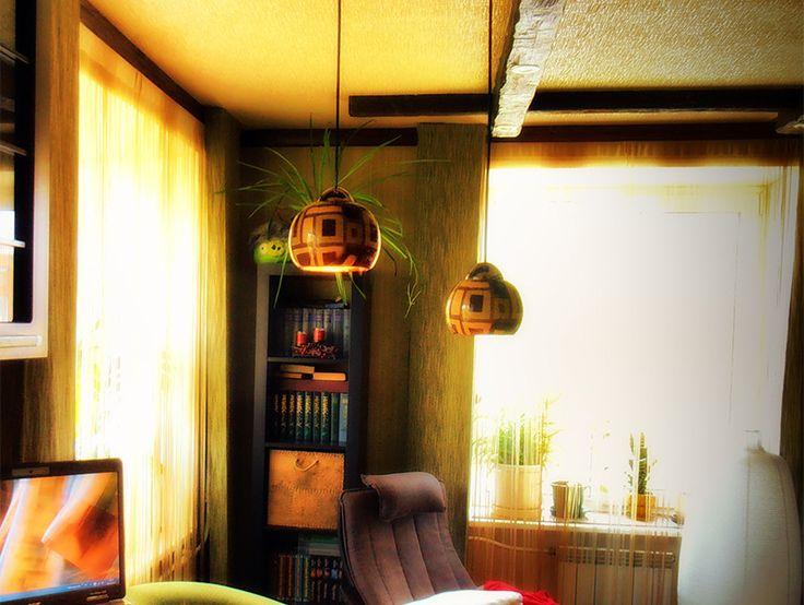 Светильники для барной стойки из цветочных горшков