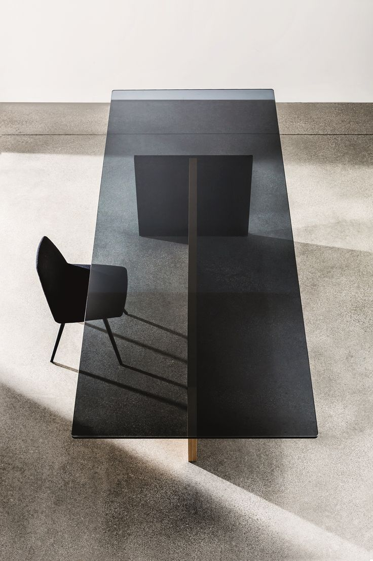 Glass conference table for sale - Rectangular Wood And Glass Table Regolo By Sovetitalia
