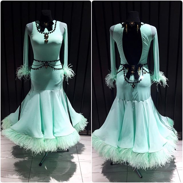 "Beautiful ""Mint fantasy"" ballroom dress created by DLK United Design #dlk_united_design #ballroom #ballroomdress #wdsf #mint"