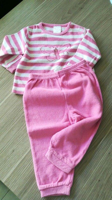Frottee 2-Teiler Schlafanzug weiß rosa gestreiftes Oberteil mit rosa Hose, Impidimpi Gr. 74/80
