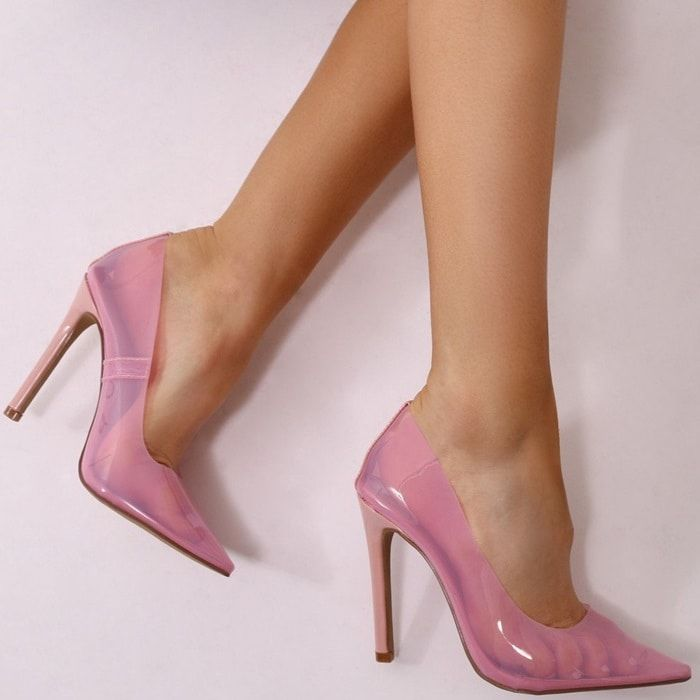Pink Extra Perspex Pointy-Toe Clear