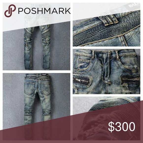 """Mens Balmain Paris Moto Denim Jeans ALL ITEMS ARE FOR SALE """"For a Limited Time Only""""   Balmains Paris Moto Destroyed Blue Denim Jeans  Price - $300 OR BETTER OFFER  Size 32  Brand New with tag, never been worn  Paypal Friendly as well  FOLLOW ME & CHECK OUT MY PIX Facebook - imau1987@gmail.com lnstagram - @miistah_got_it_all Twitter - @eye_got_it_all Balmain Jeans"""