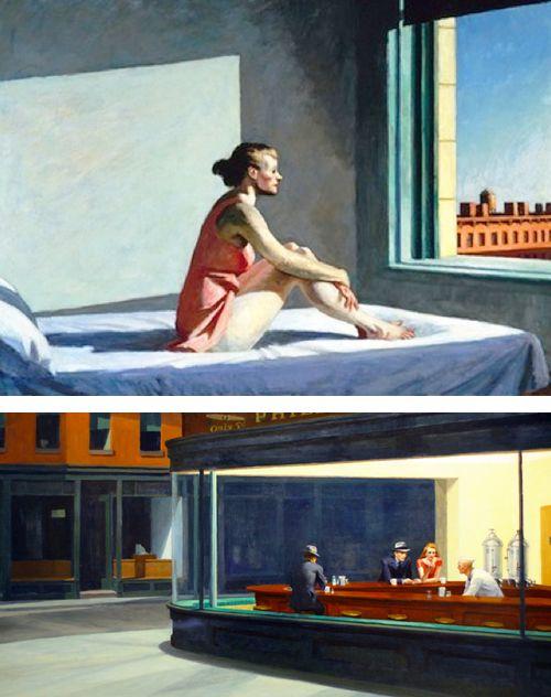 Hopper ; l'angoisse de la lumière éclatante, l'absence/présence, la solitude des êtres, les femmes-décors...
