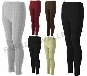 WOMENS-CHUNKY-CABLE-KNITTED-THICK-LEGGINGS-PLUS-SIZE-STRETCHY-TROUSER-PANTS-8-18