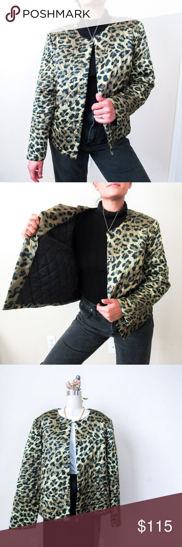 VTG Animal Print Quilted Puffer Jacket SZ M RARE RARE chic vintage animal print …