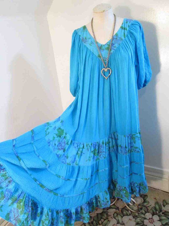 94231aa08e 70s Vintage Turquoise Dress crinkle cotton Boho peasant Dress Floral sheer  cotton Gauze V neck dress S M