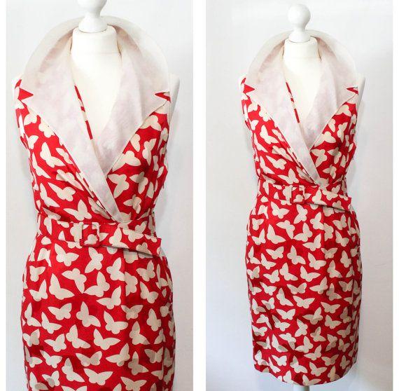 Italian Vintage Red Collared Silk Dress by BelmondoVintage on Etsy, €30.00