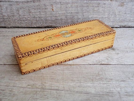 Vintage Wooden Box - Pencil Box - Wooden Pencil Box - Hand painted Box - Traditional Hand Decorated - Soviet Era School - School Pencil Box
