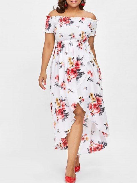 51d0523248d07 Plus Size Off Shoulder Floral Maxi Dress - WHITE 1X | Over 40 ...