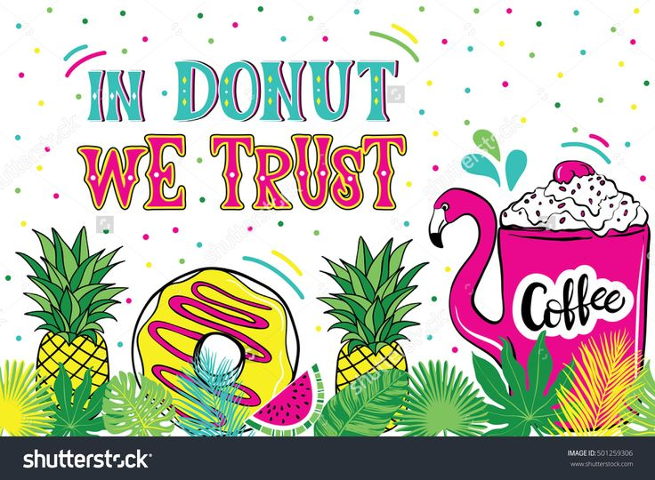 Illustration With Donuts. Tropical Leaves, Pineapple, Palm, Lettering - 501259306 : Shutterstock