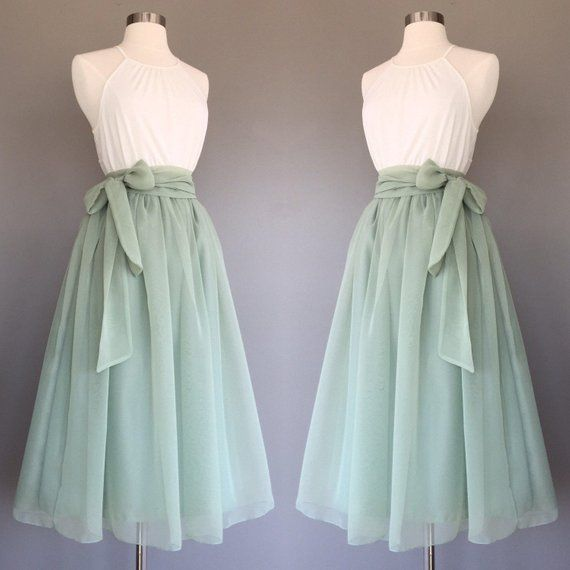 Sage green chiffon skirt, tea length, Bridesmaid skirt, floor length, knee length, green chiffon skirt, SASH is additional charge