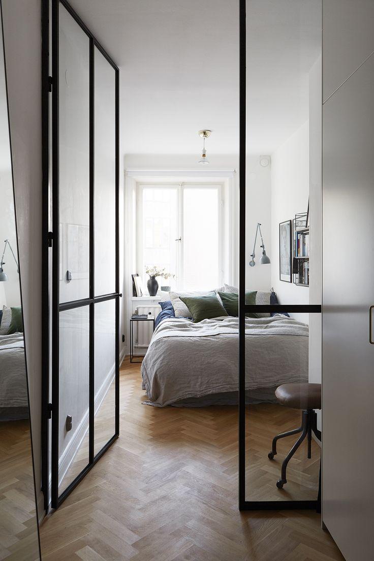 GLASS DOOR. Scandinavian interior. Bedroom. Fantastic Frank Real Estate.