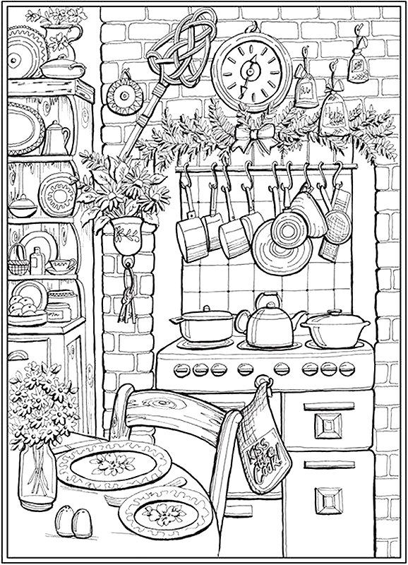 Modern Kitchen Printable Adult Coloring Page From Favoreads