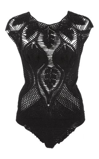 This **Helen Rödel** Leaf Crochet Swimsuit is handmade and features a high cut leg, cap sleeves, and tastefully placed sheer crochet panels.