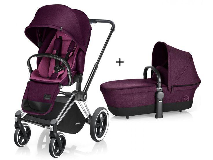 Poussette complète Cybex Priam Chrome LUXE Complète Mystic Pink - purple roues Tout-Terrain.