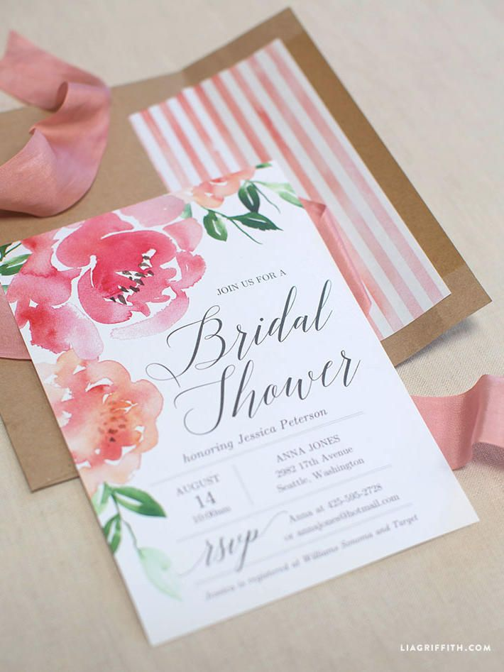 Your guests won't even know these DIY pretty peony bridal shower invitations are printable templates.