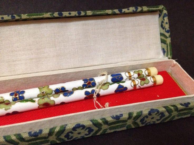 Estate Find - Vintage? Ivorine & Cloisonne Chop Sticks w/ Box (White Blue Green)