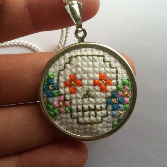 SALE Day of The Dead Mexican Sugar Skull Crossstitch by MaMagasin