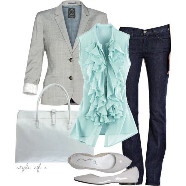 teal top and gray jacket: Colors Combos, Casual Friday, Style, Than, Jeans, Blazers, Casualfriday, Work Outfits, Business Casual