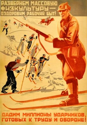 Millions of Workers Ready to Work and Fight Ski, 1933 - original vintage poster by Bocharov listed on AntikBar.co.uk
