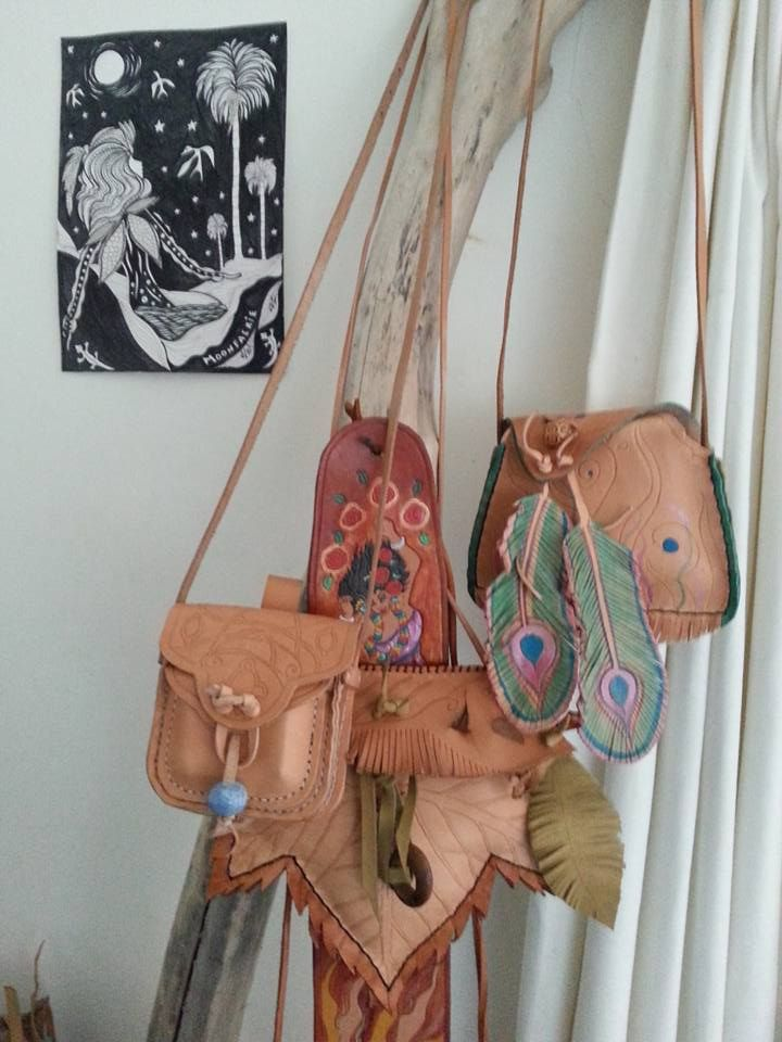 Various small Handbags in Natural Veg Tanned Leather, Handtooled and handpainted, with bead trims