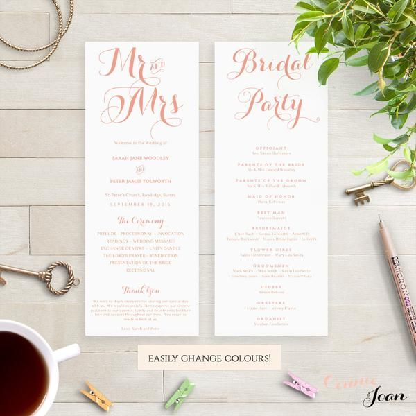 Mr & Mrs printable Wedding Order of Service program template. Download, edit print and trim! Modern script design.