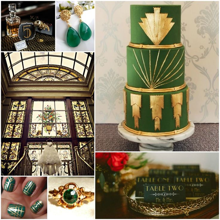 Green & Gold Art Deco Wedding... Love this, but in turquoise