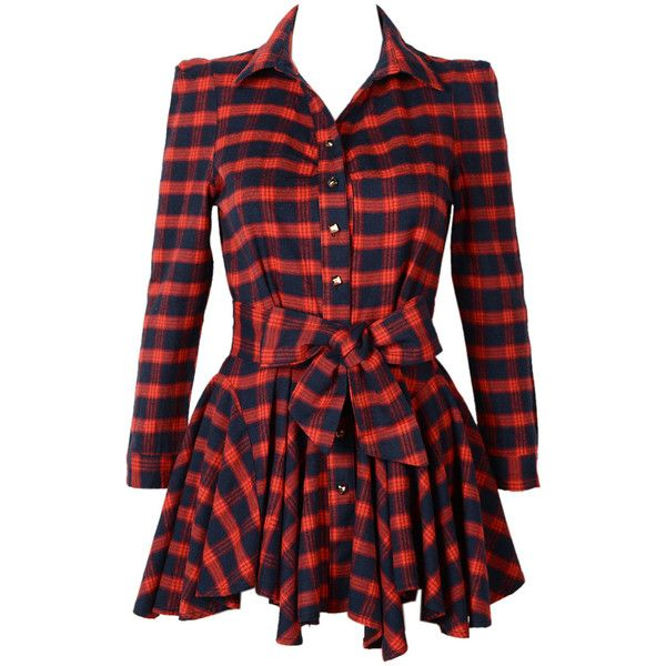 Choies Red Plaid Long Sleeve Shirt Dress With Bowknot Belt (£20) ❤ liked on Polyvore featuring dresses, vestidos, tops, shirts, longsleeve dress, long shirt dress, shirt dress, long red shirt dress and long-sleeve shirt dresses