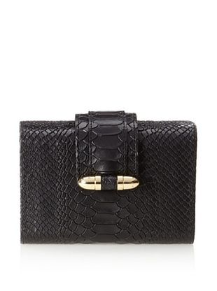 CC Skye Women's Bullet Hard Clutch, Black Python