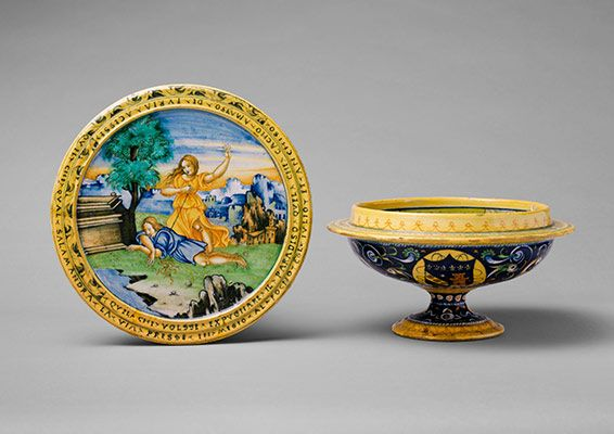 DOMESTIC ART FROM TEH MET Broth bowl and cover (scodella and tagliere) from an accouchement set; Aeneas leaving Troy with his father and son (inside bowl); Pyramis and Thisbe (on cover)