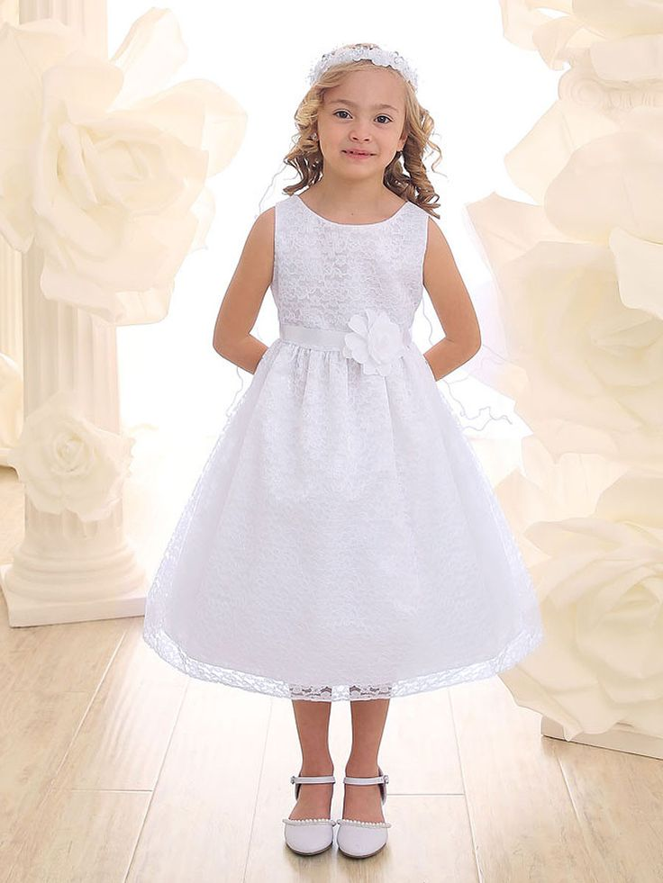 Solid White Lace Dress with Satin Sash