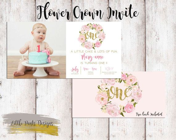 Flower Crown Wreath Birthday Invite for Little Girl Flowers Gold Glitter Roses Floral Boho Chic Pink Custom Invite Turning ONE by LittlePantsDesigns