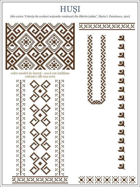 Semne Cusute: model de ie din Husi, MOLDOVA / embroidery patterns for the traditional Romanian costume in Husi, MOLDOVA http://www.pinterest.com/irinapupaza/ia/