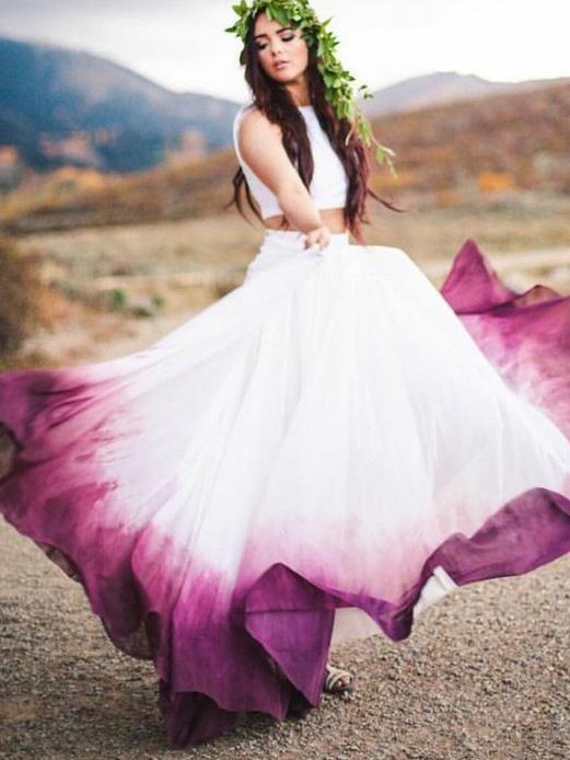 Two Piece Bateau Ombre Fuchsia Chiffon Garden/Outdoor Wedding Dress OW309