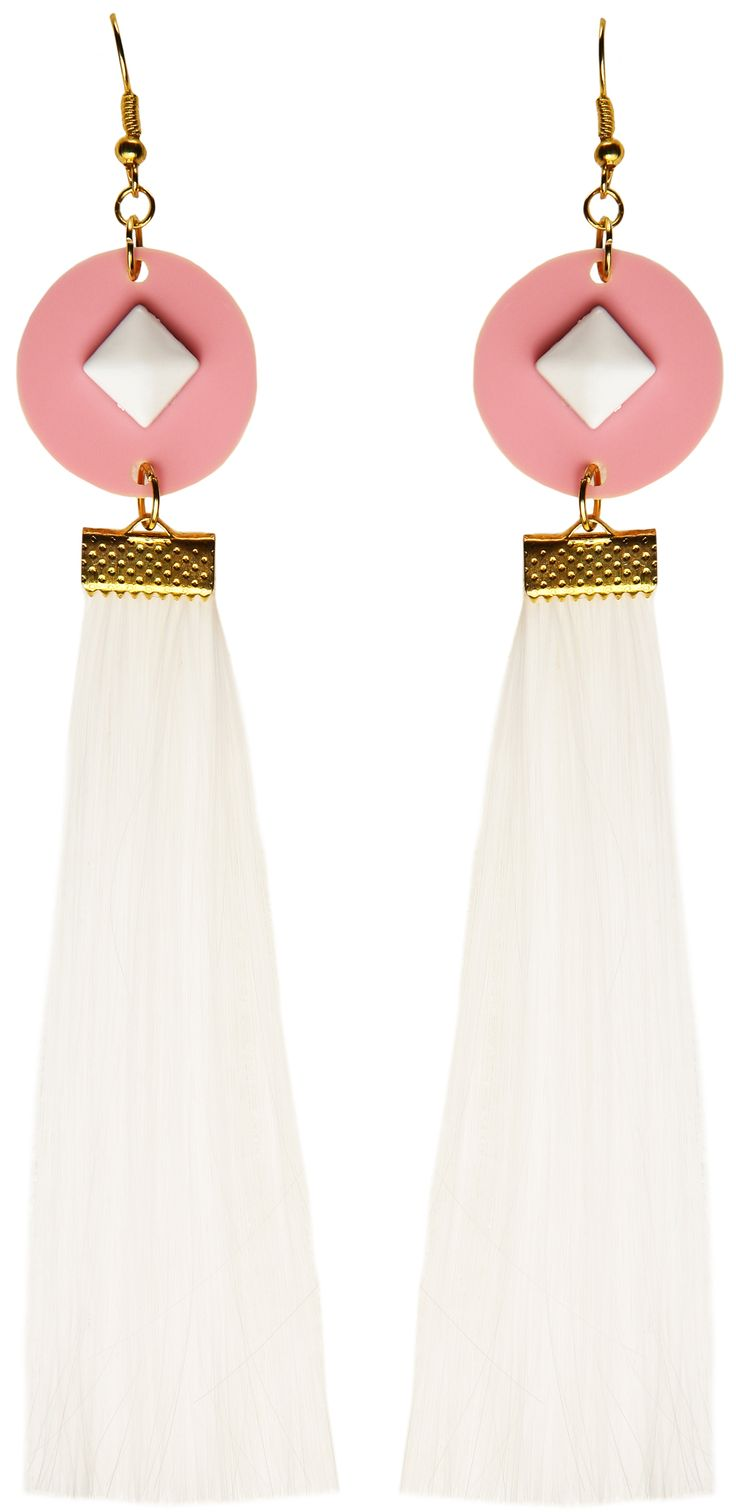 MORE is LOVE | Suzywan Deluxe - White Tassel - Earrings