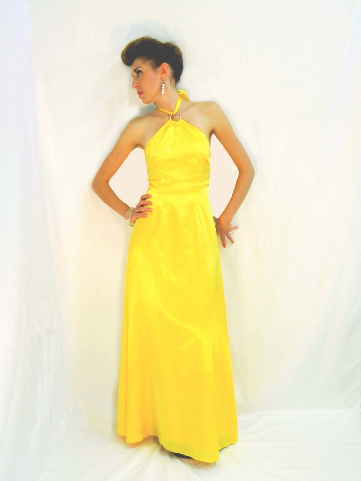 yellow satin halter-neck