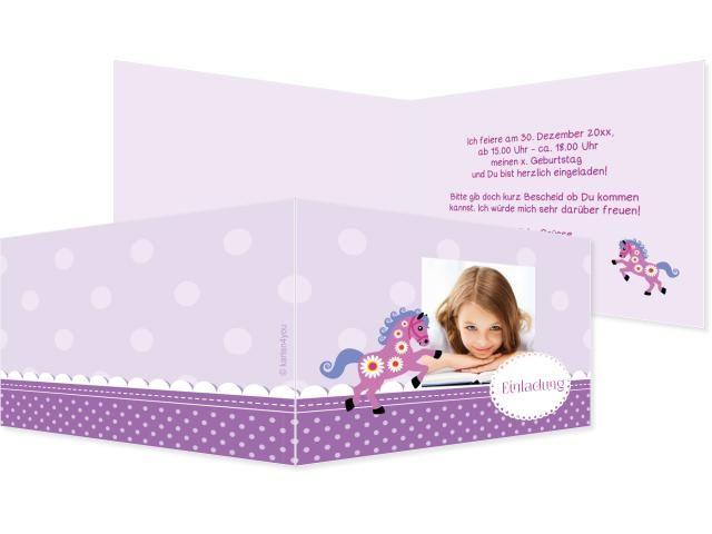 Pferdchentraum Einfachkarte 2-seitig 210x100mm violett / flieder, Geburtstag, Einladungskarten, Geburtstagskarten, Kindergeburtstag, Kids, Birthday,  Party, Birthdayparty