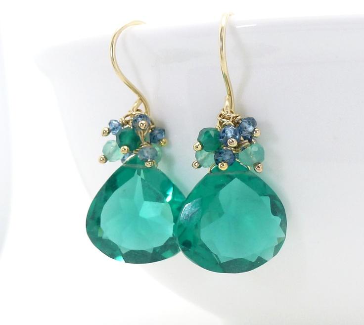 Gold dark teal earrings. Teal cluster earrings with green onyx. Teal quartz earrings. Gold handmade teal jewelry. $95.00, via Etsy.