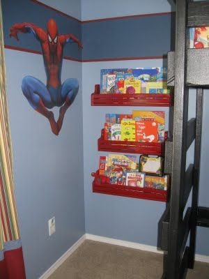 Spiderman Room. Made loft fro $70, book shelves $7 total (they were $60 each at pottery barn, Spiderman wall decal was $20 at Walmart.com. Love my boys room!!
