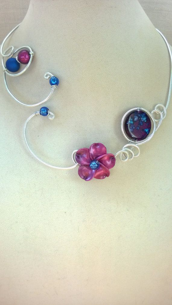 FREE SHIPPING JEWELRY Purple and royal blue necklace   Mauve