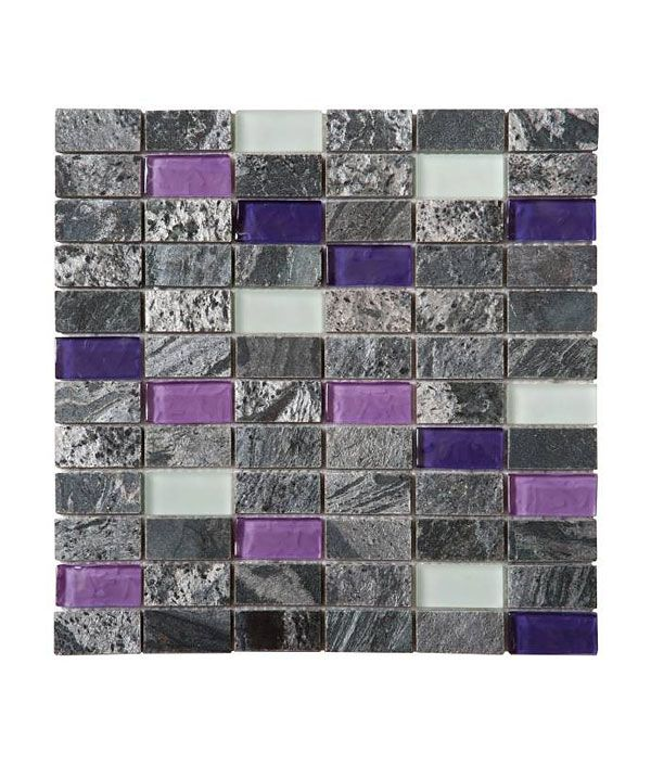 Grey Purple White Glass Quartzite Brick Mosaic Tile Purple
