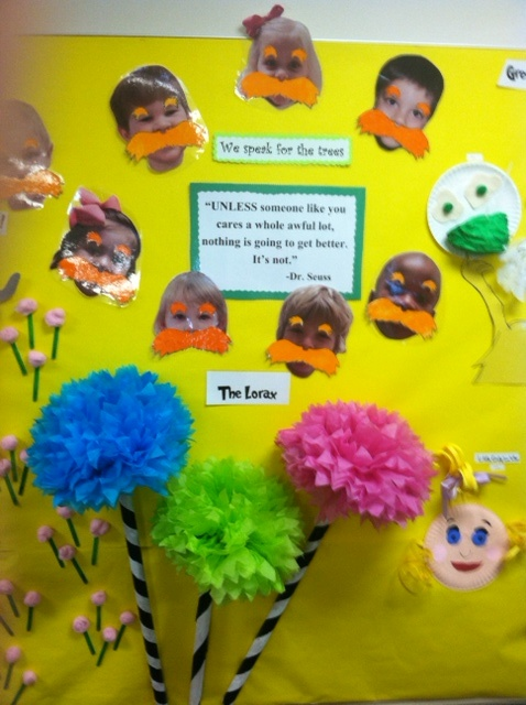 My 2013 Preschool Art Show: Dr. Seuss.  Children could try and paint lorax trees